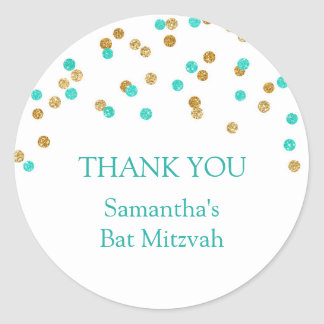 Bat Mitzvah Thank You Custom Name Favor Tags Gold Round Sticker
