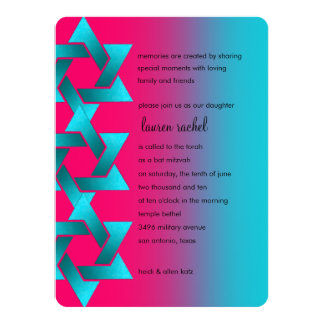 "Bat Mitzvah Turquoise and Pink 5.5"" X 7.5"" Invitation Card"
