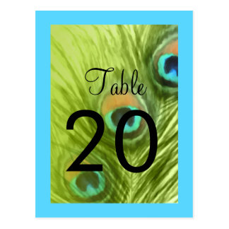 Bat Mitzvah Turquoise Blue and Lime Peacock Postcard