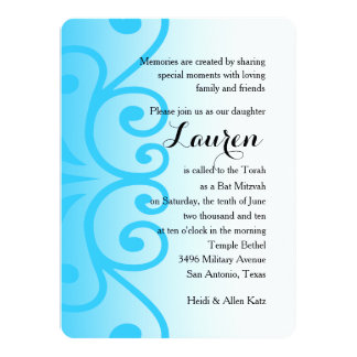 Bat Mitzvah White with Any Color 14 Cm X 19 Cm Invitation Card