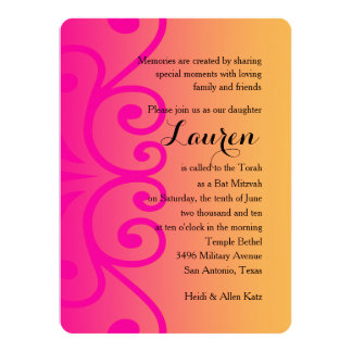 Bat Mitzvah Yellow with Any Color 14 Cm X 19 Cm Invitation Card