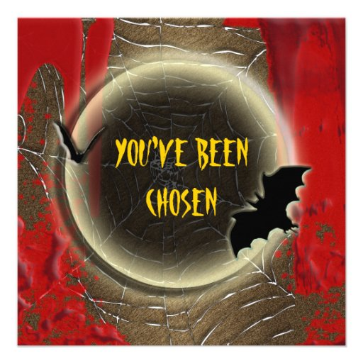 Bat moon blood halloween party announcement