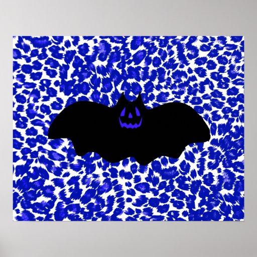 Bat on Blue Leopard Print Background