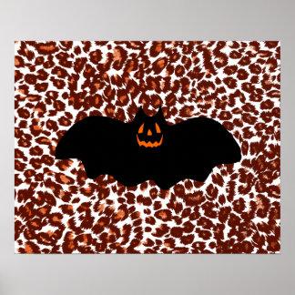 Bat On Leopard Spot Background Print