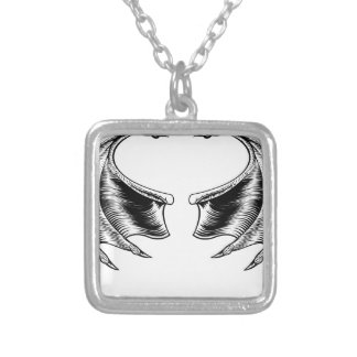 Bat or Dragon Wings Silver Plated Necklace