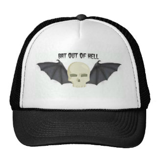 BAT OUT OF HELL WINGED SKULL PRINT TRUCKER HAT