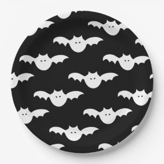 Bat pattern halloween paper plates