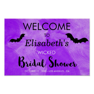 Bat Purple Black Bridal Shower Halloween Party Poster