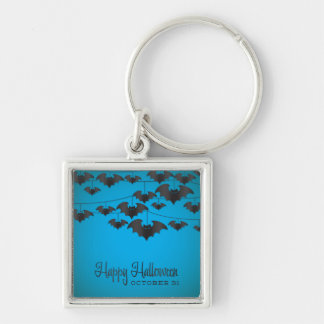 Bat string Silver-Colored square key ring