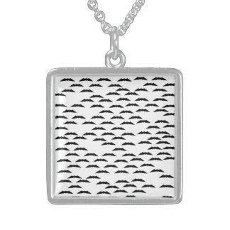 Bat swarm square pendant necklace