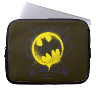 Bat Symbol Tagged Over Justice League Laptop Computer Sleeve