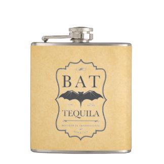 Bat Tequila Vintage Alcohol Label Hip Flask