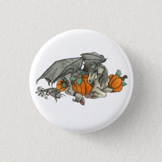 Bat winged Unicorn protecting a pumpkin patch 3 Cm Round Badge