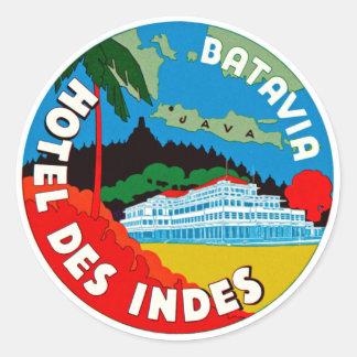 Batavia Hotel Des Indies Round Sticker