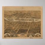 Batavia Illinois 1869 Antique Panoramic Map Poster