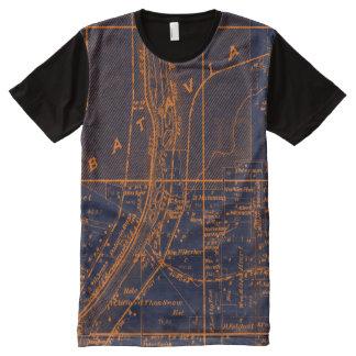 Batavia Illinois 1871 Map Chicago Suburb Windmill All-Over Print T-Shirt