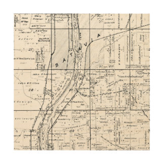 BATAVIA ILLINOIS 1871 MAP FOX RIVER VALLEY WOOD WALL ART
