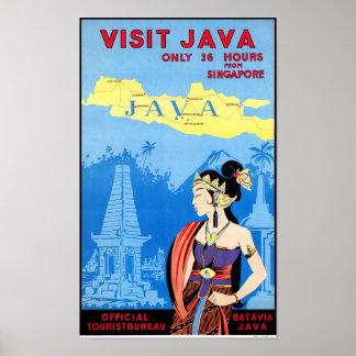 Batavia Java Vintage Travel Poster Restored