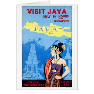 Batavia Java Vintage Travel Poster Restored Card