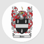 BATES FAMILY CREST -  BATES COAT OF ARMS ROUND STICKER