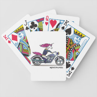 Bath ASS unicorn on motorcycle - bang-hard unicorn Bicycle Playing Cards
