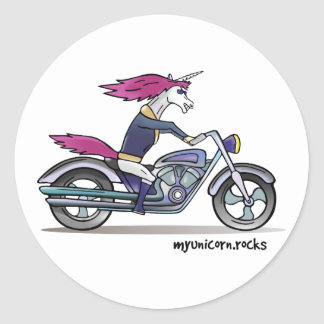 Bath ASS unicorn on motorcycle - bang-hard unicorn Classic Round Sticker