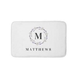 Bath Mat - Floral Circle Monogram Name