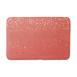 Bath Mat-Golden shower of Stars Salmon Coral Bath Mat