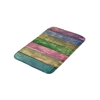 Bath mat - multicolored wood