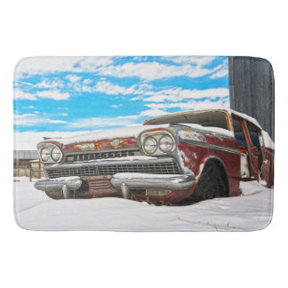 Bath Mat Vintage Car Winter