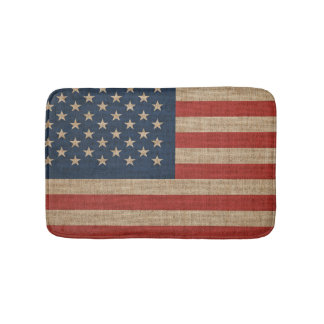 Bath Mat with American USA flag on canvas pattern