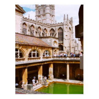 Bath, Roman baths and Bath Abbey Postcard