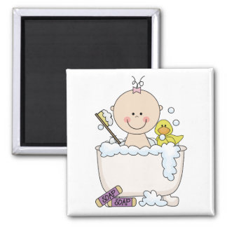 Bath Time Girl Tshirts and Gifts Square Magnet