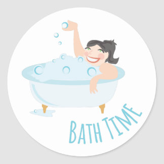 Bath Time Round Sticker