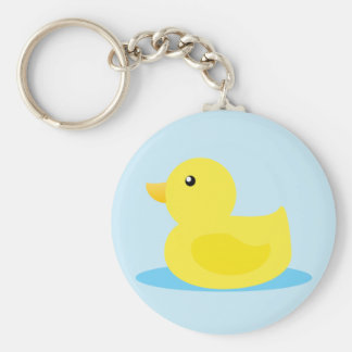 Bath Time Yellow Duck Basic Round Button Key Ring