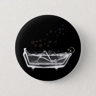 Bath Tub X-Ray Skeleton - Rainbow Bubbles 6 Cm Round Badge