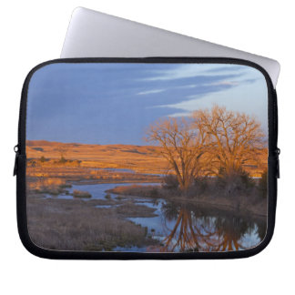 Bathed in sunset light the Calamus River Laptop Computer Sleeve