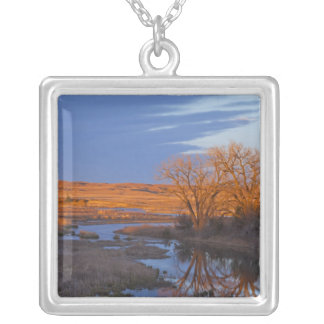Bathed in sunset light the Calamus River Square Pendant Necklace