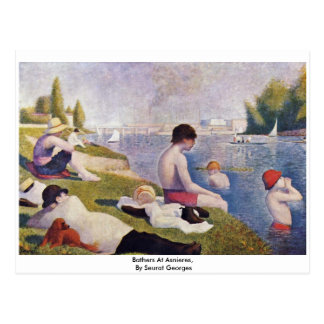 Bathers At Asnieres,  By Seurat Georges Postcard
