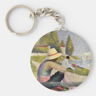 Bathing At Asnieres Detail By Seurat Georges Key Ring