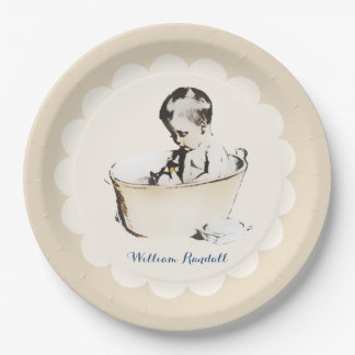 Bathing Baby Paper Plates 9 Inch Paper Plate