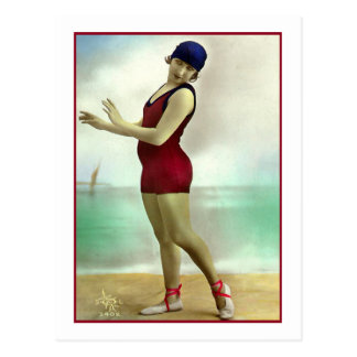 Bathing Beauty in deep cranberry bathing suit Postcard