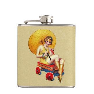 Bathing Beauty in Red Wagon 1920s Era Hip Flasks