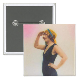 Bathing Beauty Vintage Look Magnet Square Shaped Buttons