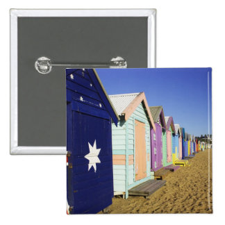 Bathing Boxes, Middle Brighton Beach, Port 15 Cm Square Badge
