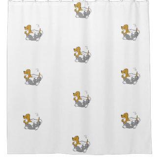 Bathing Dog Shower Curtain