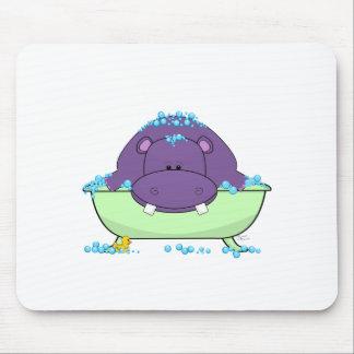 Bathing Purple Hippo Mouse Pad
