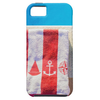 Bathing slippers and bath towel at swimming pool tough iPhone 5 case