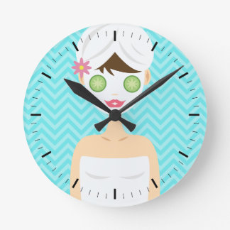Bathing Spa Woman With A White Face Mask Round Clock
