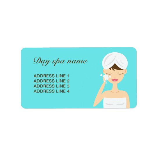 Bathing Woman Applying Soap Day Spa Blue Address Label
